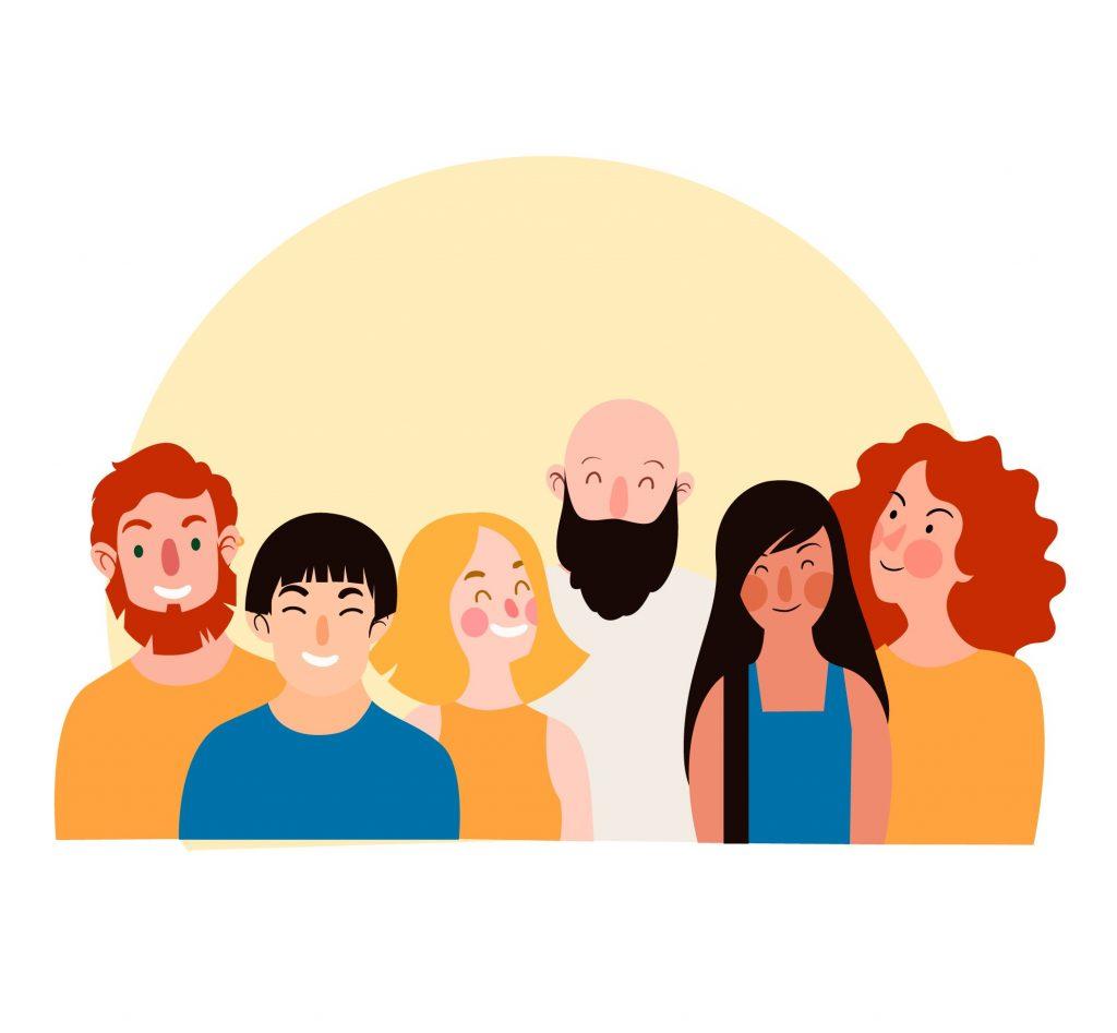 Ryhmä piirrettyjä ihmisiä hymyilee.