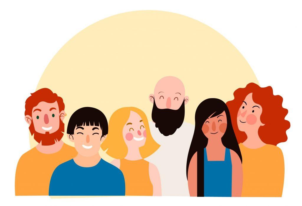 Ryhmä piirrettyjä ihmisiä hymyilee keltaisen taustan edessä
