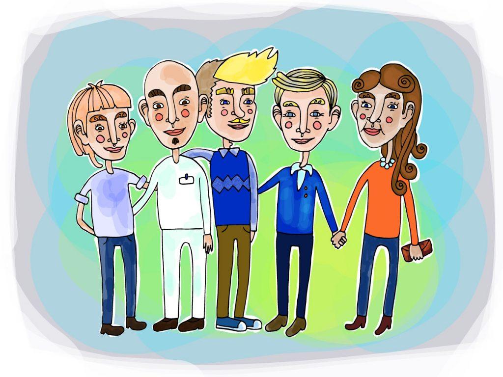 Viisi piirrettyä ihmistä, jotka pitävät toisiaan käsistä.