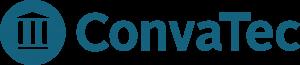 Convatecin logo, jossa sinisellä teksti convatec.