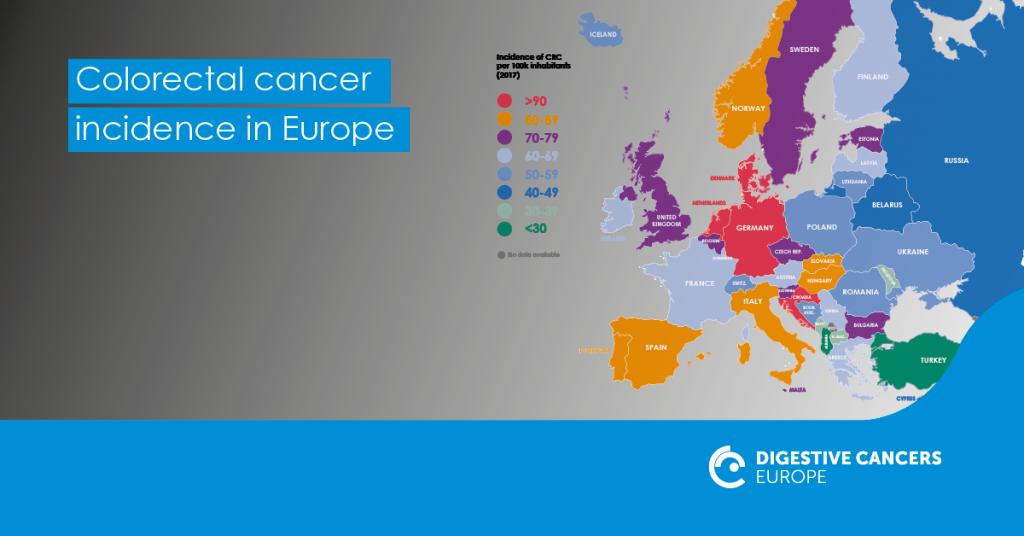 Karttakuva Euroopasta, joka näyttää eri maissa todettujen uusien suolistosyöpätapausten määrän