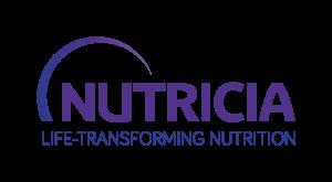 Nutricia Medicalin logo, jossa lukee violetilla tekstillä Nutricia Life transforming nutrition