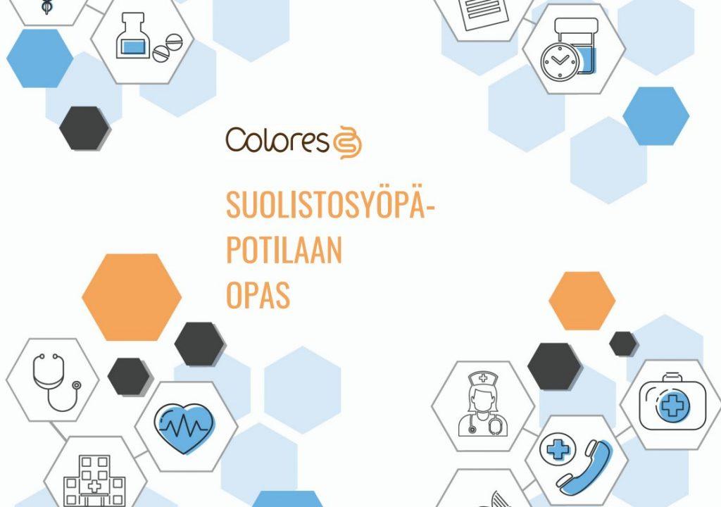 Kuvan keskellä teksti colores suolistosyöpäpotilaan opas. Ympärillä kuusikulmioita, jotka ovat oransseja ja sinisiä. Osassa kulmioissa on lääketieteellisiä symboleita, kuten lääkäri ja lääkepurkki.